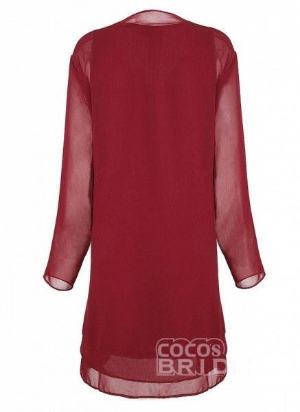 Burgundy Plus Size Solid Round Neckline Elegant Knee-Length Shift Dress Plus Dress_3
