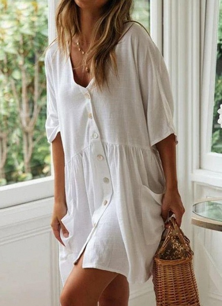 White Plus Size Tunic Solid V-Neckline Casual Pockets Buttons Plus Dress_2