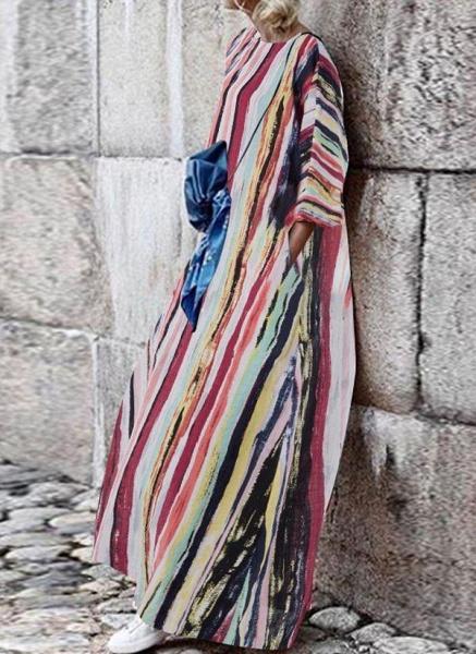 Multicolor Plus Size Tunic Color Block Round Neckline Casual Pockets Plus Dress_1