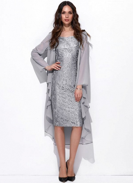 Arabian Solid Wrap Square Neckline Sheath Dress_2