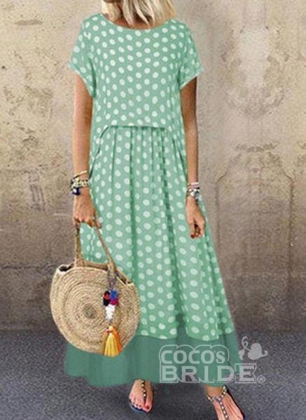 Black Plus Size Polka Dot Round Neckline Casual Ruffles Maxi Plus Dress_2