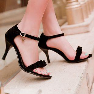 Women's Buckle Heels Nubuck Spool Heel Sandals_1