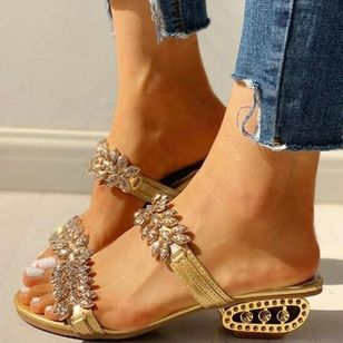 Women's Sequin Flower Slingbacks Flat Heel Sandals_2