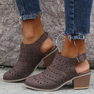 Women's Buckle Hollow-out Closed Toe Heels Chunky Heel Sandals_2