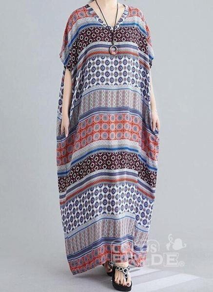 Multicolor Plus Size Tunic Geometric V-Neckline Casual Maxi Plus Dress_2