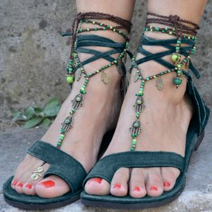 Women's Lace-up Toe Ring Flat Heel Sandals_2