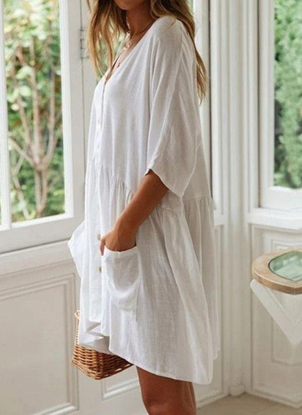 White Plus Size Tunic Solid V-Neckline Casual Pockets Buttons Plus Dress_3