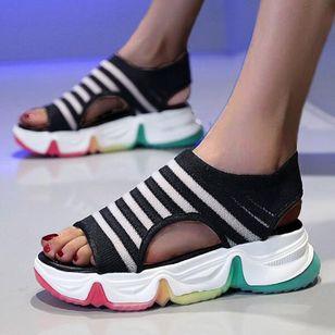 Women's Round Toe Fabric Flat Heel Sandals_4