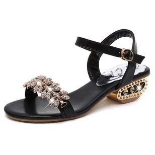 Women's Rhinestone Buckle Heels Low Heel Sandals_1