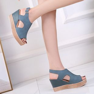 Women's Buckle Peep Toe Slingbacks Wedge Heel Sandals_3