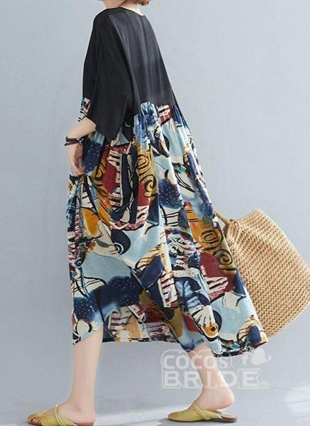 Black Plus Size Tunic Geometric Round Neckline Casual Midi Plus Dress_2