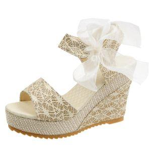 Women's Geometric Lace-up Heels Cloth Wedge Heel Sandals_2