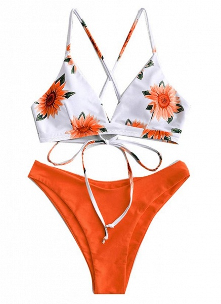 Polyester Knotted Floral Bikinis Swimwear_3