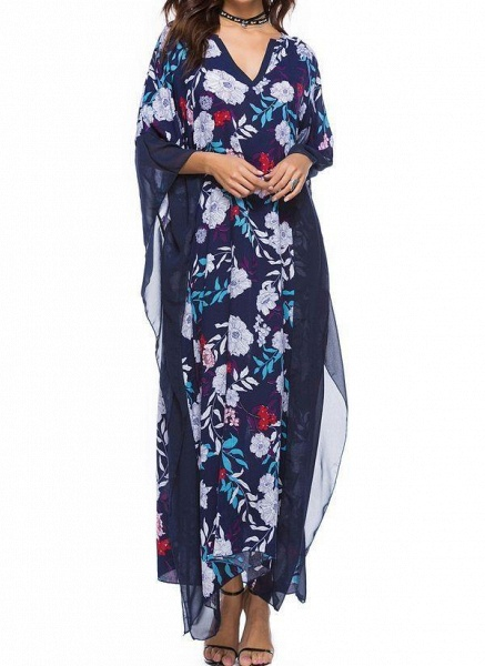 Plus Size Tunic Floral V-Neckline Casual Plus Dress_1