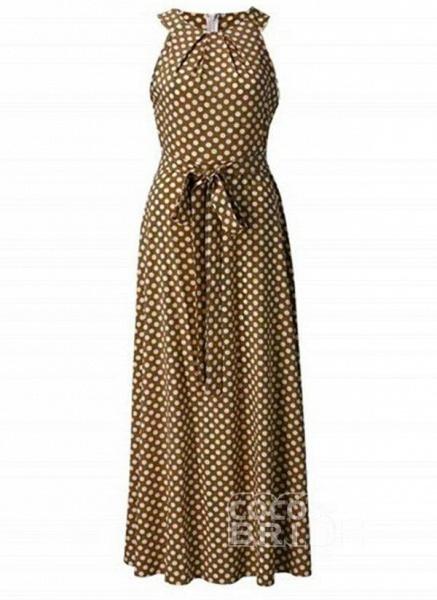 Red Casual Polka Dot Sashes Round Neckline X-line Dress_5