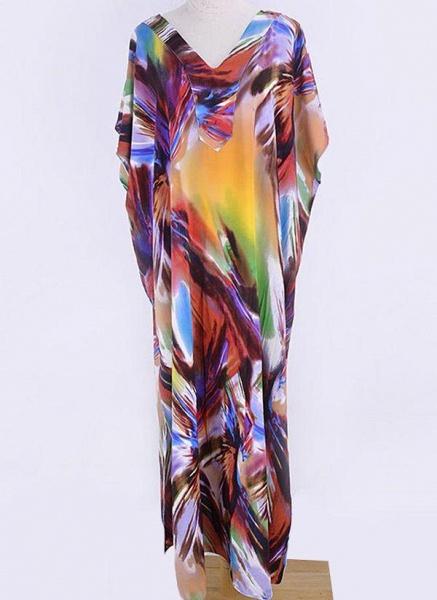 Brown Plus Size Color Block V-Neckline Casual Arabian Maxi Shift Dress Plus Dress_4