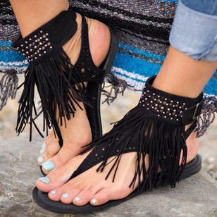 Women's Tassel Slingbacks Flip-Flops Flat Heel Sandals_3