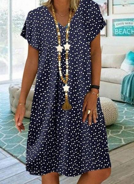 Purple Plus Size Tunic Geometric V-Neckline Casual Knee-Length Plus Dress_2