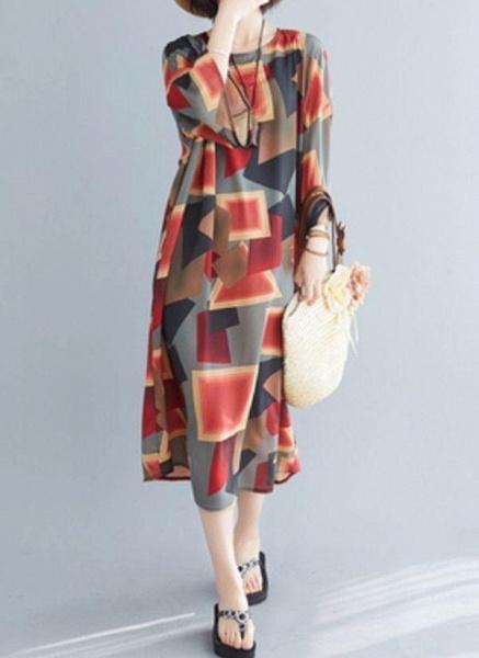 Multicolor Plus Size Tunic Color Block Round Neckline Casual Midi Plus Dress_1