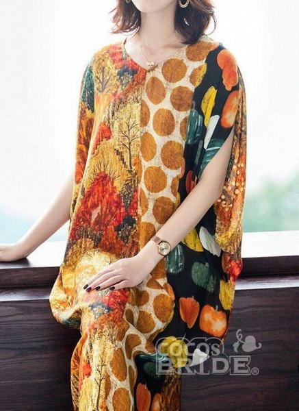 Orange Plus Size Tunic Color Block V-Neckline Casual Midi Plus Dress_2
