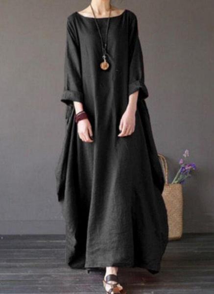 Green Plus Size Tunic Solid Round Neckline Casual Maxi Plus Dress_4