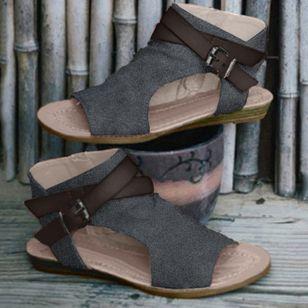 Women's Buckle Slingbacks Cloth Low Heel Sandals_3