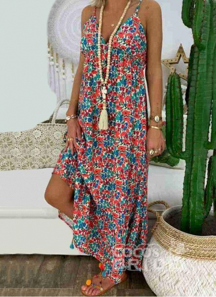 Red Arabian Floral Tunic Camisole Neckline Shift Dress_4