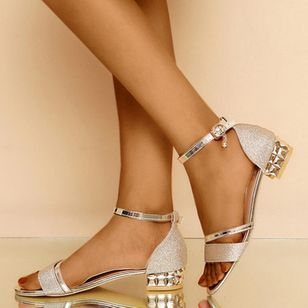 Women's Crystal Buckle Low Top Low Heel Sandals_4