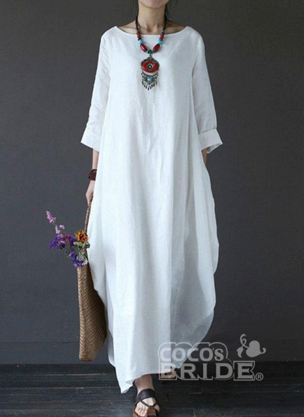 White Chinese Casual Solid Tunic Boat Neckline Shift Dress_5
