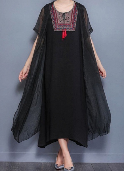 Arabian Floral Tunic Round Neckline Shift Dress_3