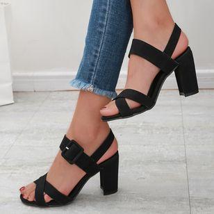 Women's Buckle Heels Nubuck Chunky Heel Sandals_4