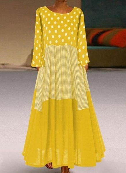 Plus Size Tunic Polka Dot Round Neckline Casual Maxi Plus Dress_1
