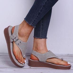 Women's Buckle Flip-Flops Flat Heel Sandals Platforms_2