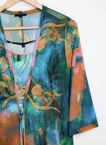 Arabian Wrap Tunic Round Neckline A-line Dress_5