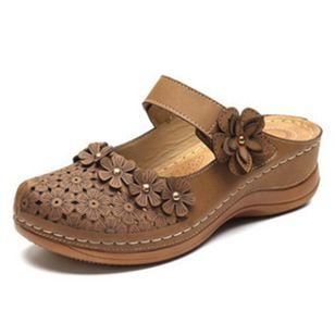 Women's Hollow-out Flower Slingbacks Flat Heel Sandals_6