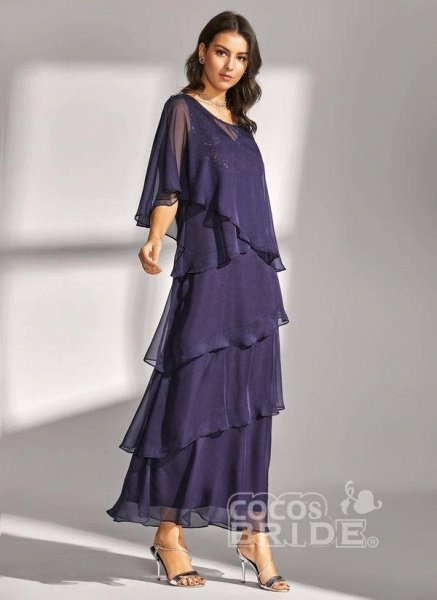 Dark Blue Elegant Solid Round Neckline Maxi X-line Dress_3
