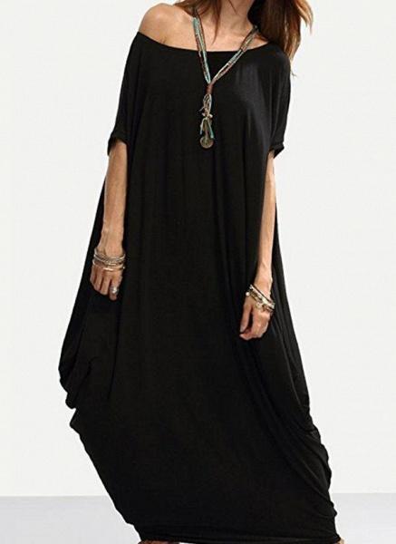 Black Plus Size Tunic Solid Round Neckline Casual Maxi Plus Dress_1