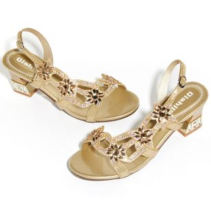 Women's Rhinestone Slingbacks Low Heel Sandals_3