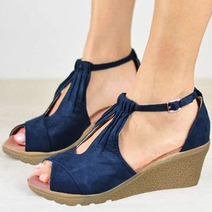 Women's Buckle Peep Toe Wedge Heel Sandals_3