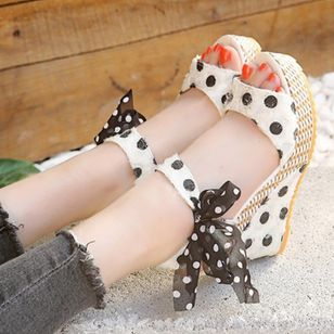 Women's Slingbacks Heels Cloth Wedge Heel Sandals Wedges_3
