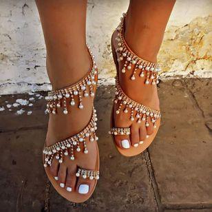 Women's Pearl Tassel Toe Ring Flat Heel Sandals_2