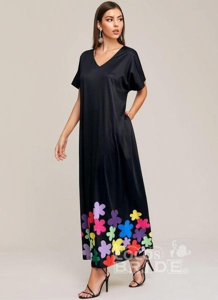 Black Plus Size Color Block V-Neckline Elegant Maxi Shift Dress Plus Dress_3