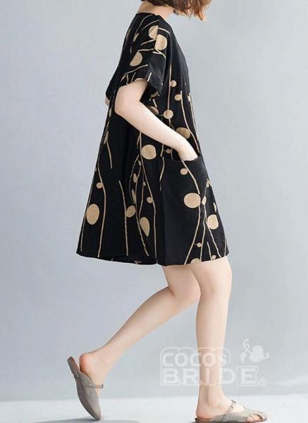 Plus Size Tunic Color Block Round Neckline Casual Pockets Plus Dress_4