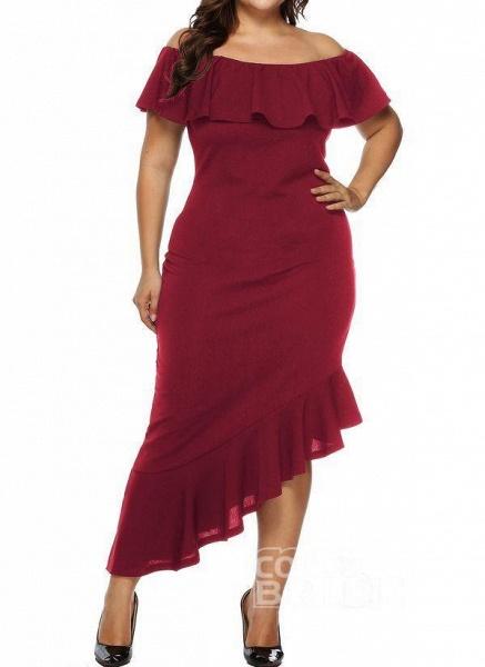 Black Plus Size Pencil Solid Off the Shoulder Elegant Ruffles Plus Dress_8