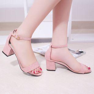 Women's Ankle Strap Peep Toe Nubuck Chunky Heel Sandals_3