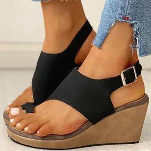 Women's Buckle Toe Ring Cloth Wedge Heel Sandals_4