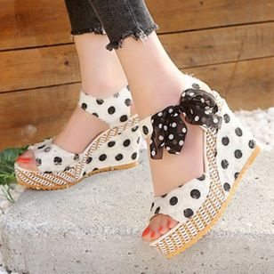 Women's Slingbacks Heels Cloth Wedge Heel Sandals Wedges_6