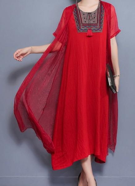 Arabian Floral Tunic Round Neckline Shift Dress_4