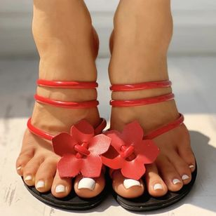 Women's Flower Flats Flat Heel Sandals_5