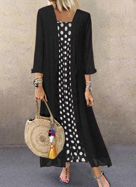 Black Plus Size Polka Dot Round Neckline Casual Buttons Maxi Plus Dress_1